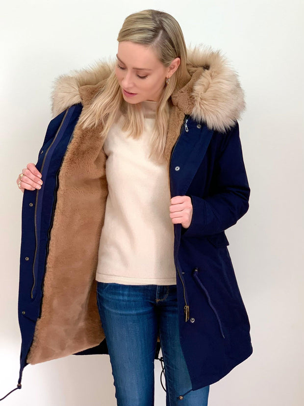 Navy Parka with Faux Fur Lining and Collar - Natural