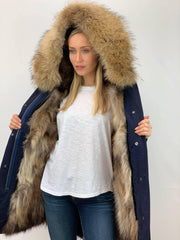 Navy Parka with Fox Fur Lining and Raccoon Collar - Natural