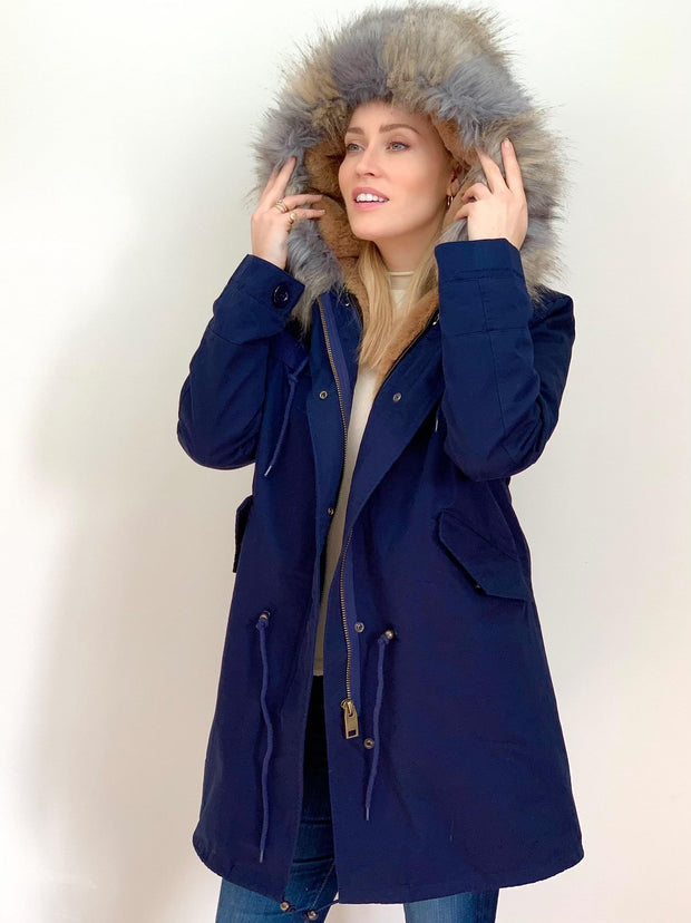 Navy Parka with Natural Faux Fur Lining and Grey Collar