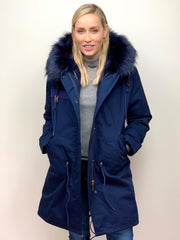 Navy Parka with Faux Fur Lining and Collar - Navy