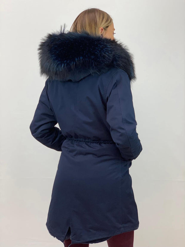 Navy Parka with Faux Fur Lining and Raccoon Collar - Navy