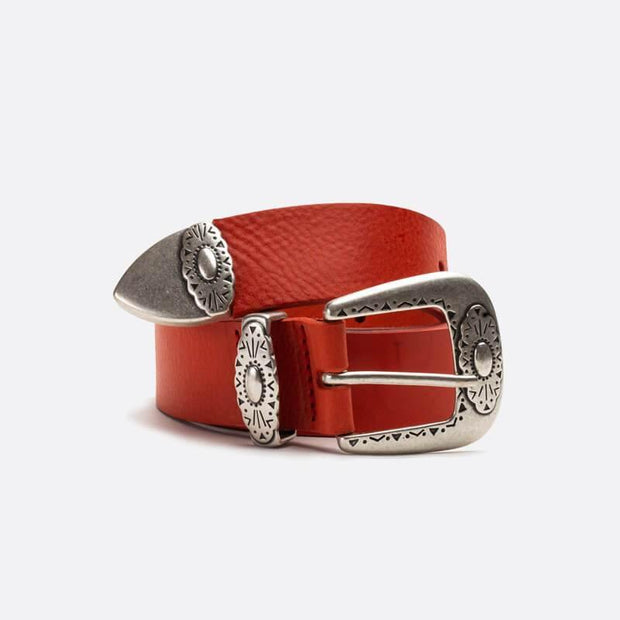 Leather Belt with Silver Buckle- Red