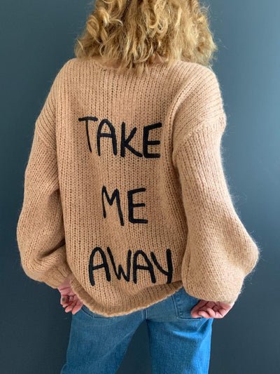 'Take Me Away' Embroidered V-Neck Jumper