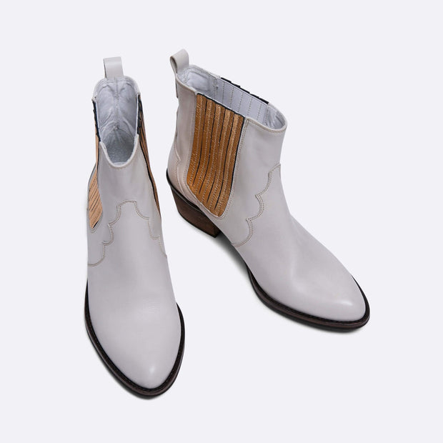 Leather Cowboy Ankle Boots- Off-White and Gold