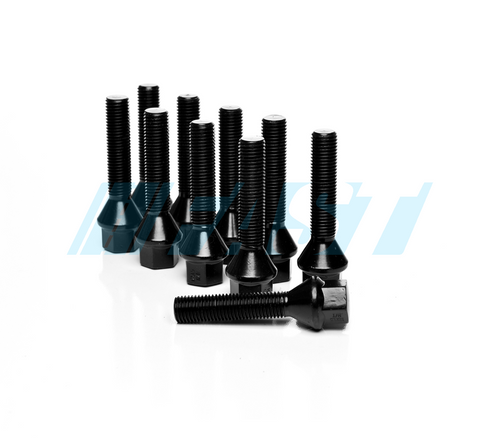Lug Bolts | Conical Seat 17mm Hex | 10 Piece Set | Black