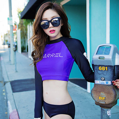 4ebb7f4b07 Rashguard Women Long Sleeve Swimwear Rash Guard Surf Two Piece Crop Up Swim  Bodysuit Bathing Suit