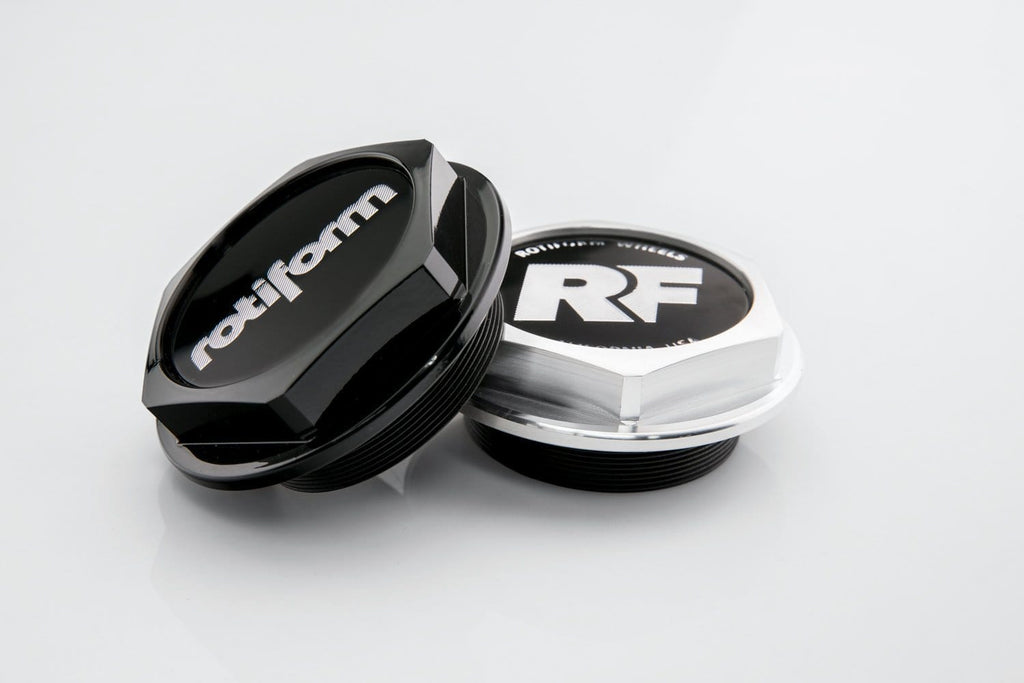 "Rotiform Hex Center Cap with ""Rotiform"" logo - Gloss Black - Rotiform Wheels"