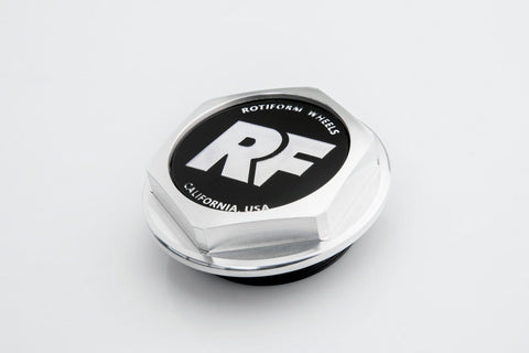 "Rotiform Hex Center Cap with ""RF"" logo - Machined Silver - Rotiform Wheels"