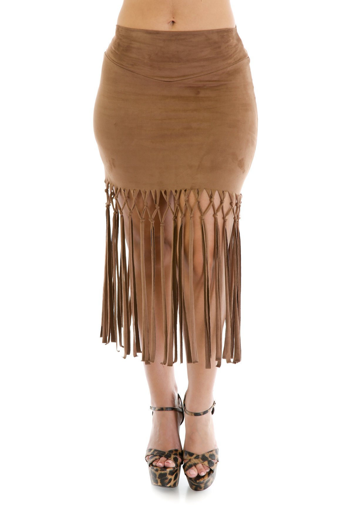 Knotty Faux Suede Skirt
