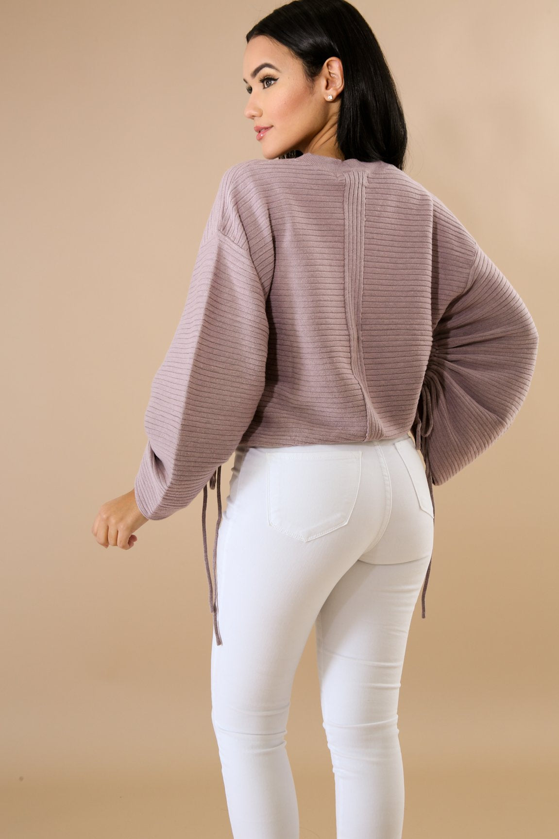 Sleeve Scrunch Sweater Top