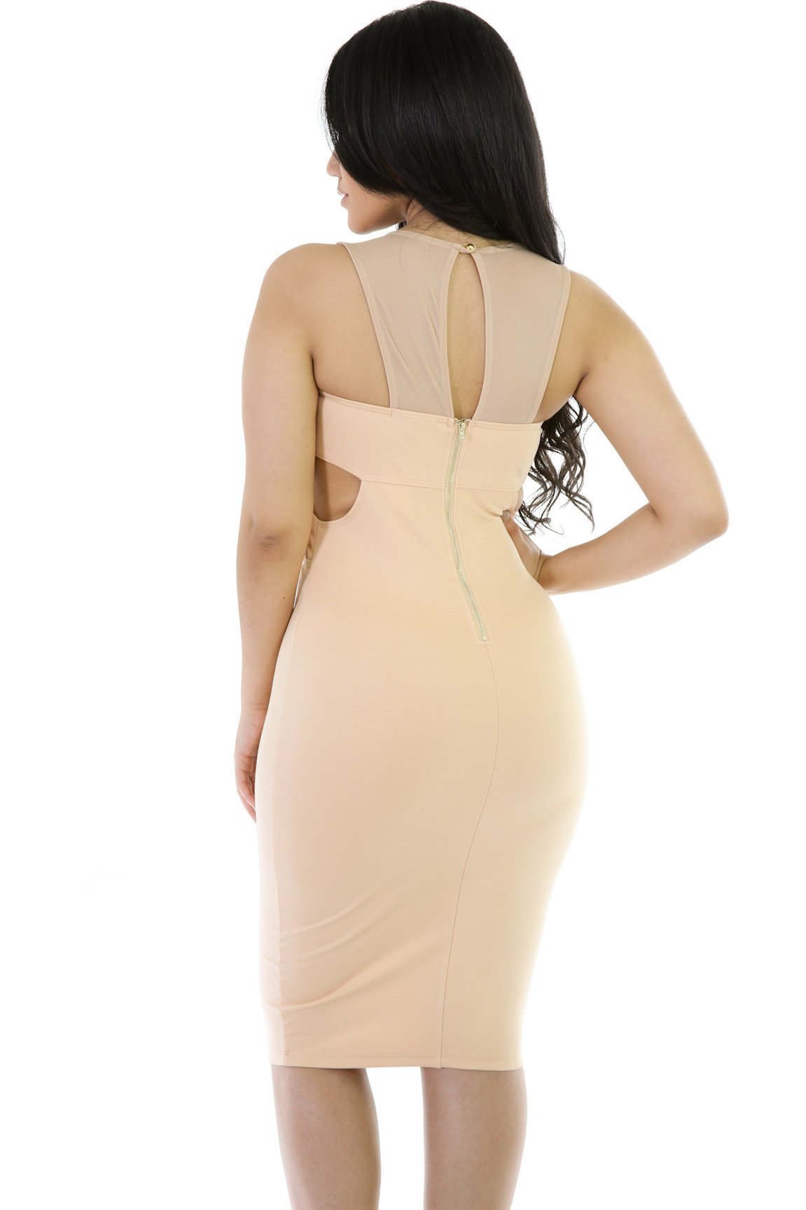 Semi-Mesh Bodycon Dress