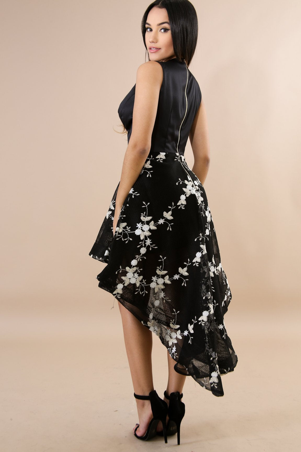 Floral Net Long Tail Dress
