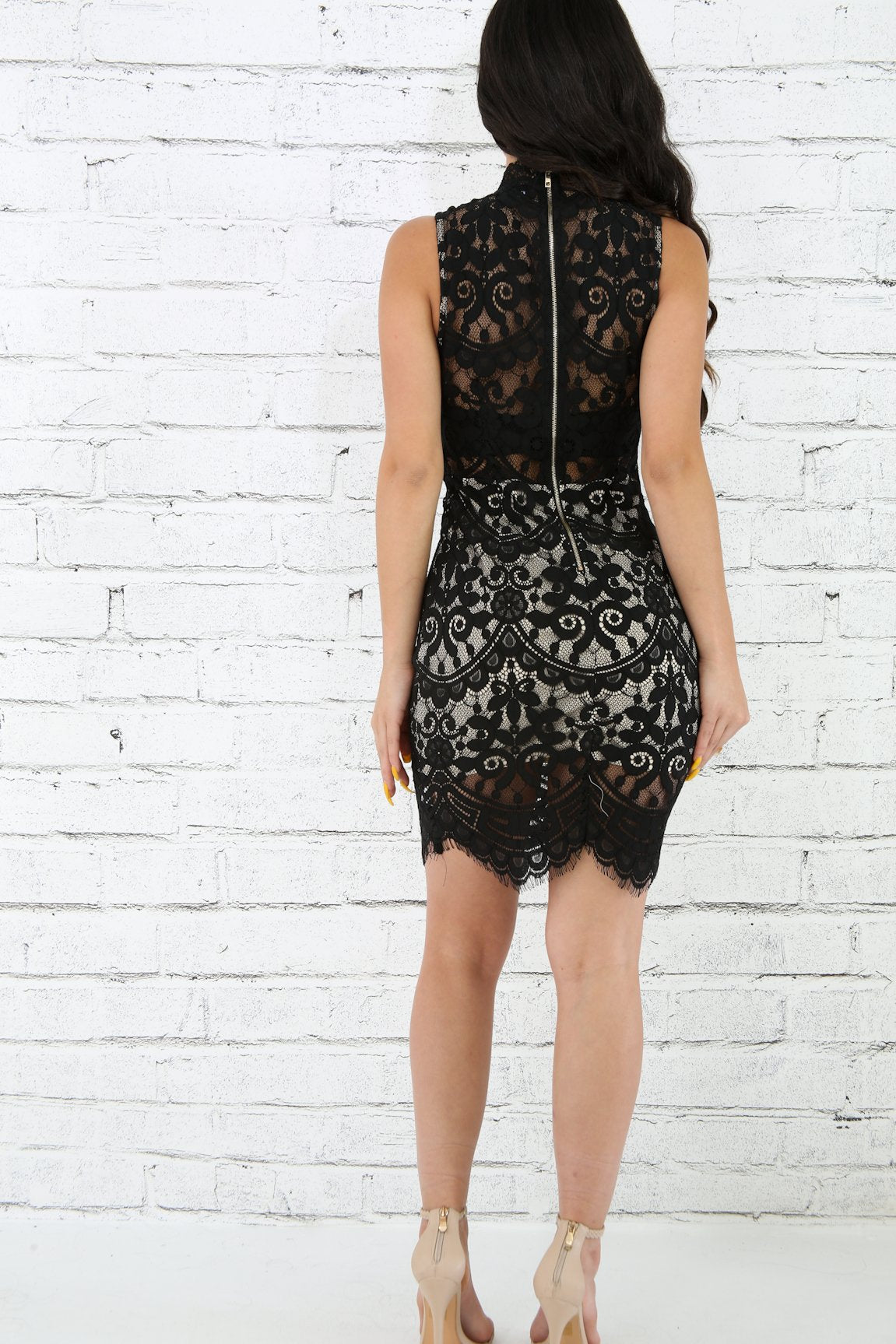 Lace Mock Neck Body-Con Dress