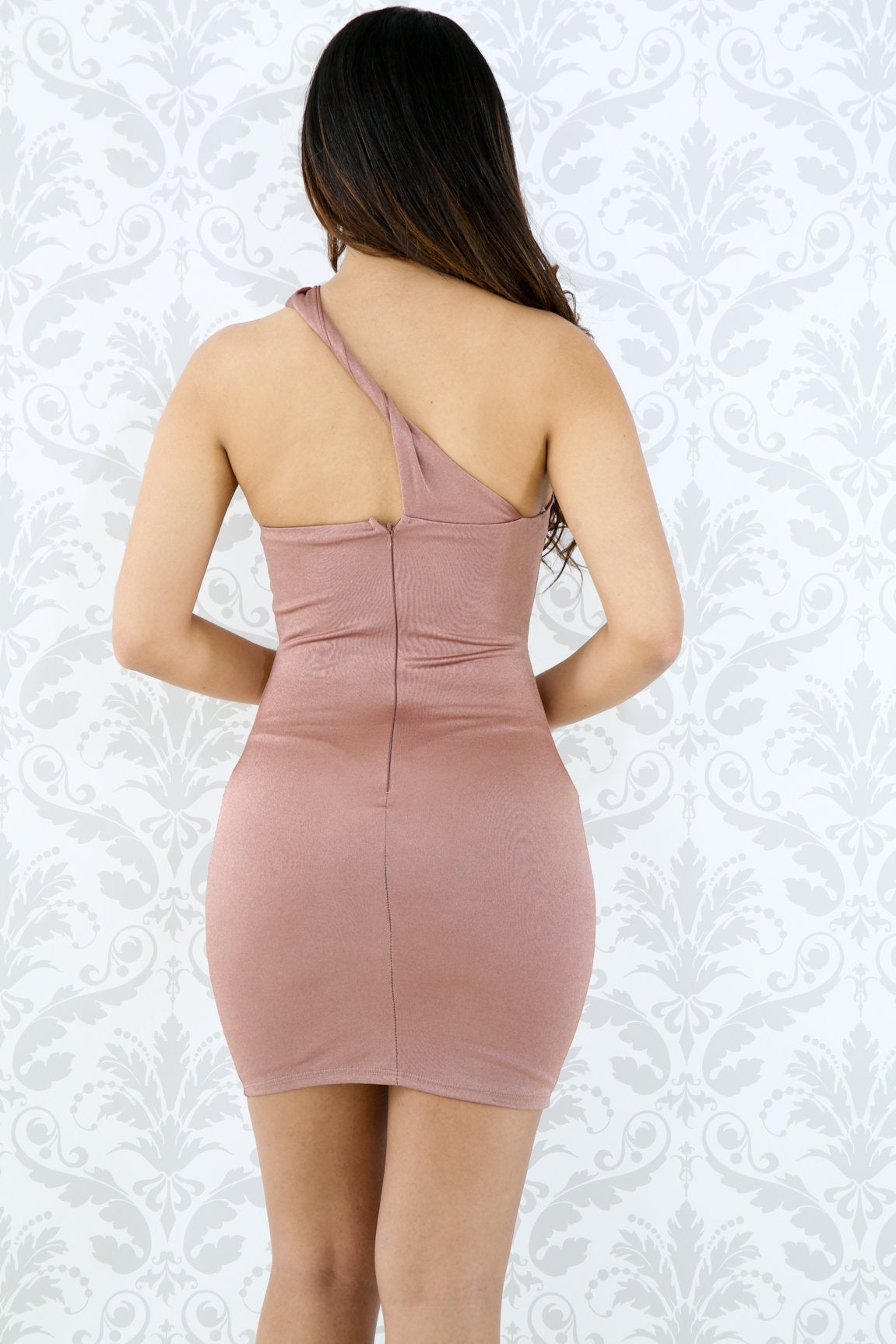 One Shoulder Cut Out Silk Dress