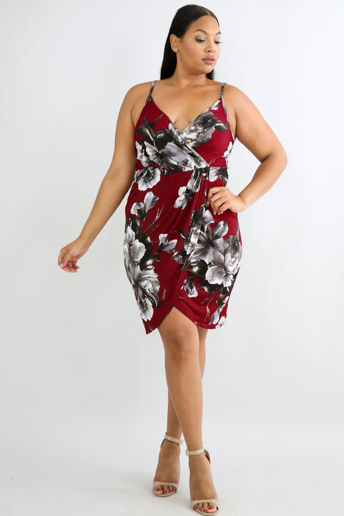 Surplice Floral Body-Con Dress