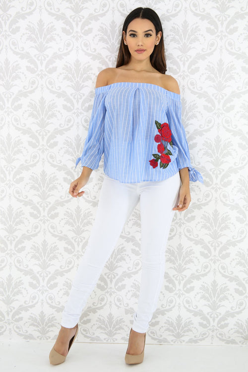 Striped Embroidered Floral Top