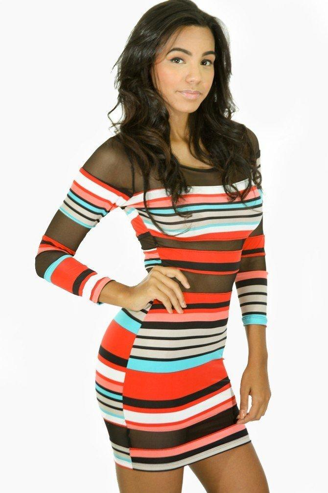 Striped Mesh Dress