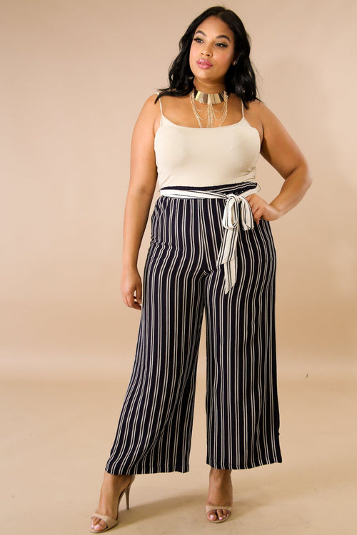 Self Tie Striped Palazzo Pants
