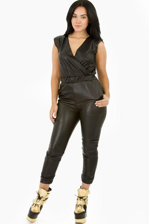 Faux Leather Jumpsuit