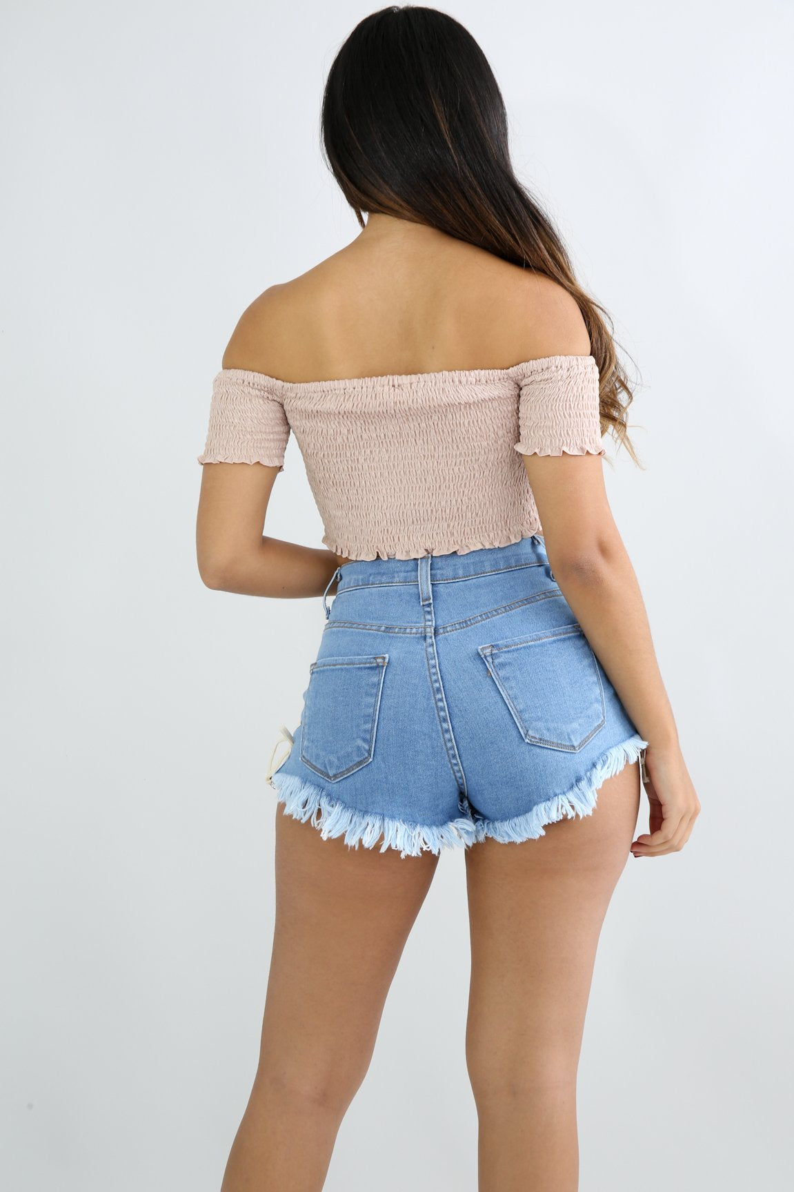 Smocked Clip On Crop top