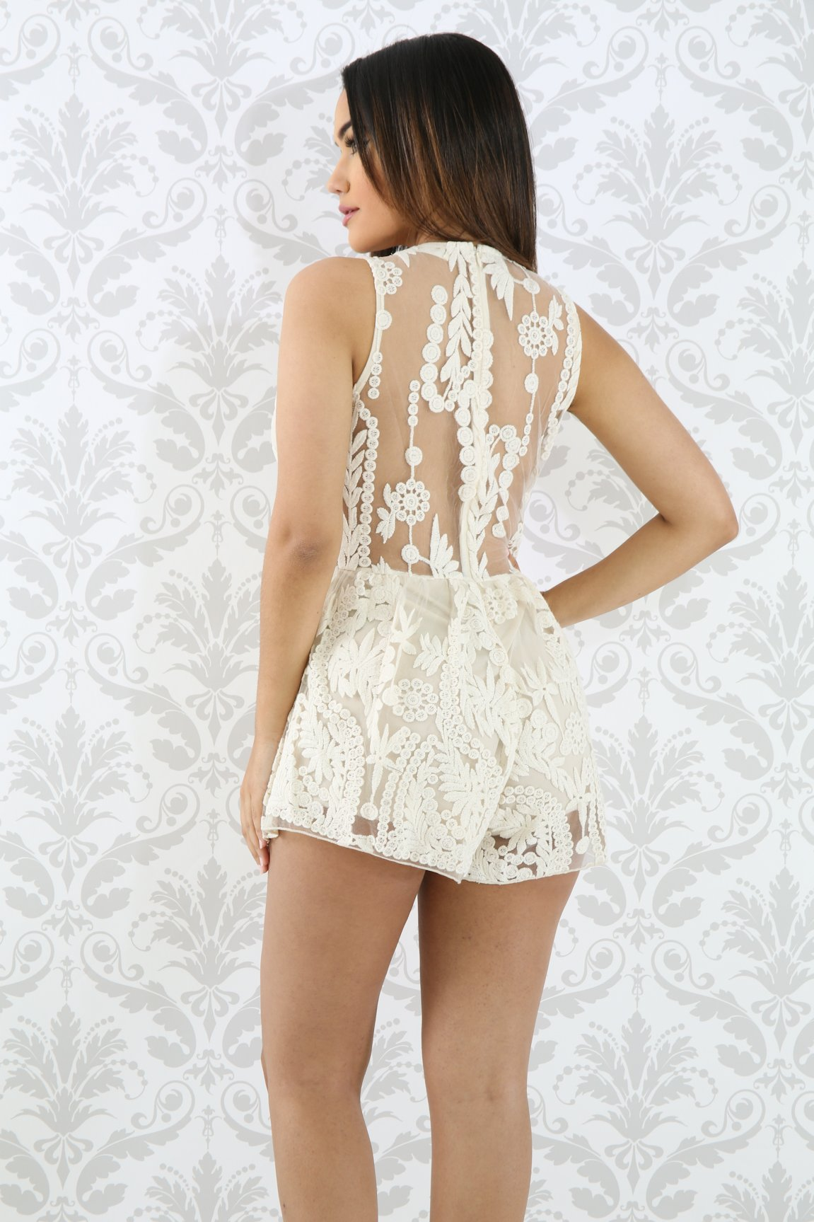 Embroidery Lace Floral Romper