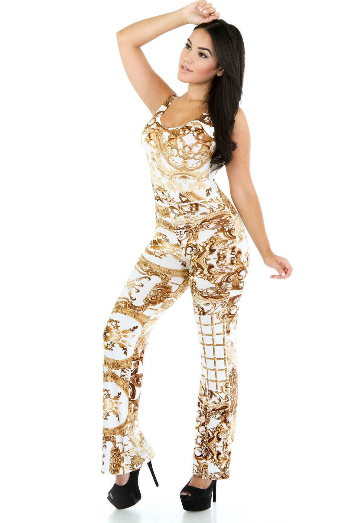 Gold Printed Jumpsuit