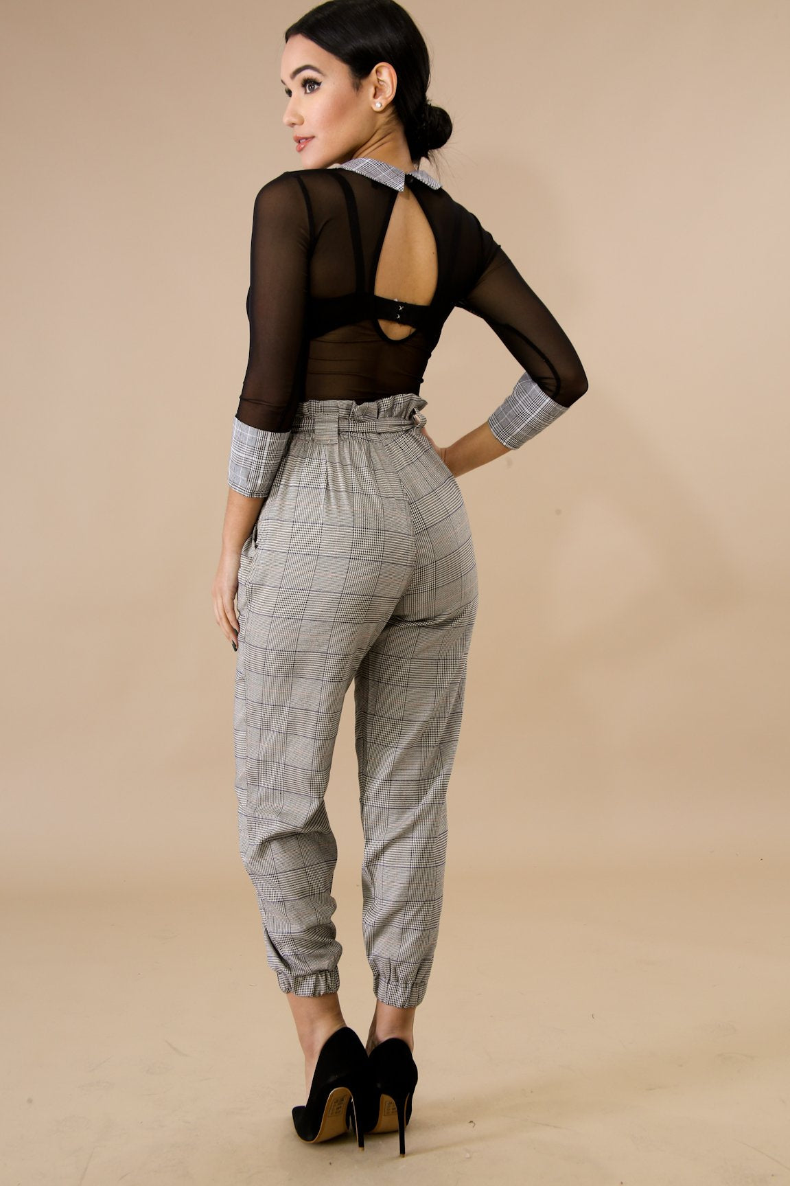Plaid Clinched Pants