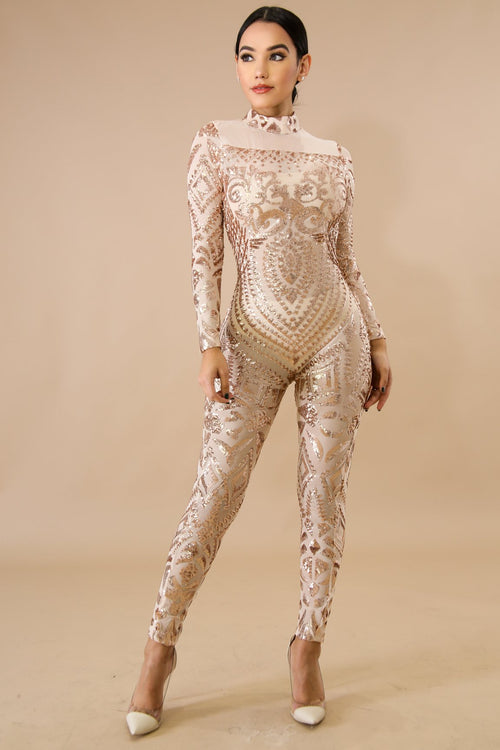 Mock Neck Sequin Sheer Jumpsuit
