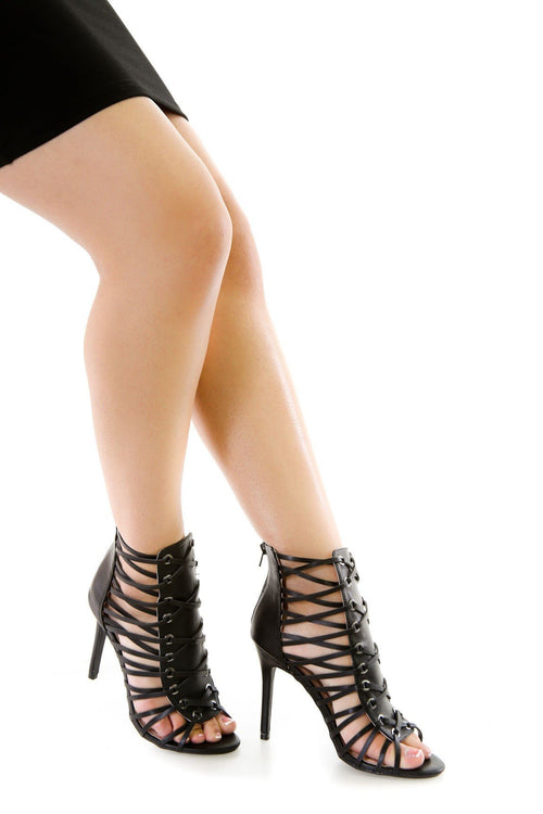 Faux Leather Peep Toe Heels | vendor-unknown