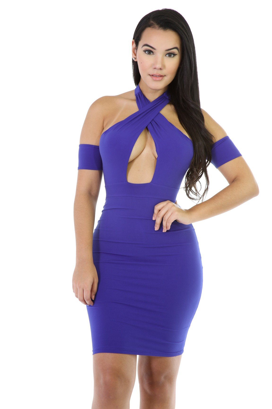 Hulter Neck Twist BodyCon Dress