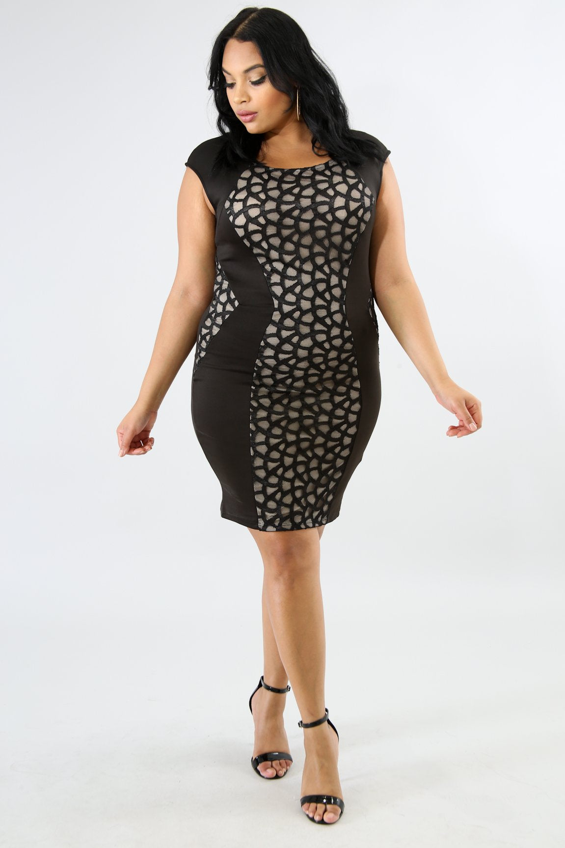 Lace Figure Trim Body-Con Dress | GitiOnline