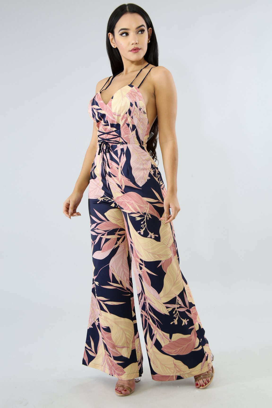 Silky Leafs Palazzo Jumpsuit