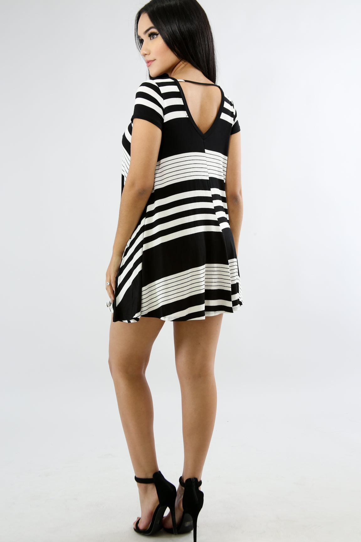 Striped Jersey Knit Dress-Top