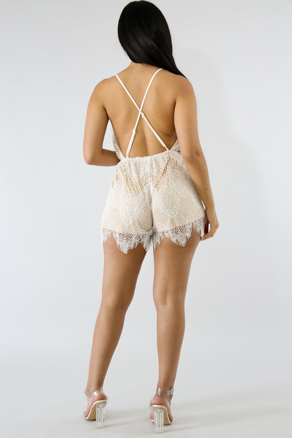 Lace Crossed Romper