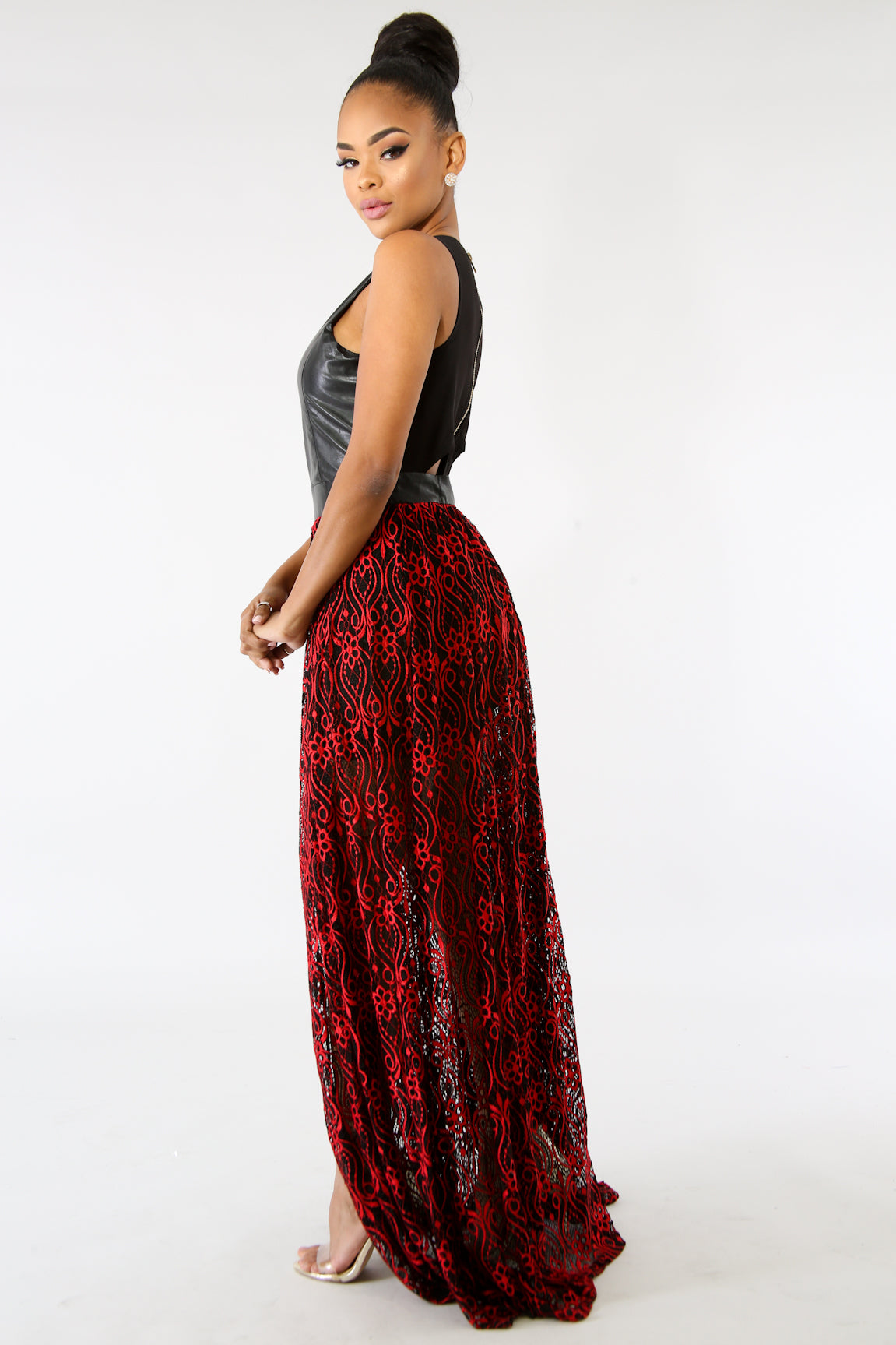 Leatherette Lace Maxi Dress