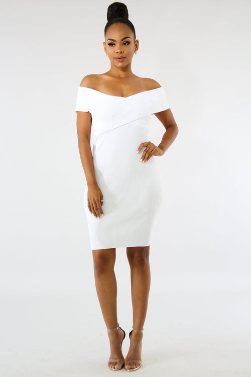 Pearl Crossed Knit Body-Con Dress