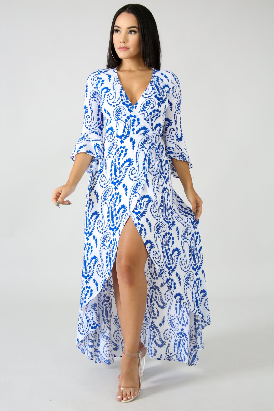 Porcelain Wrap Maxi Dress | GitiOnline