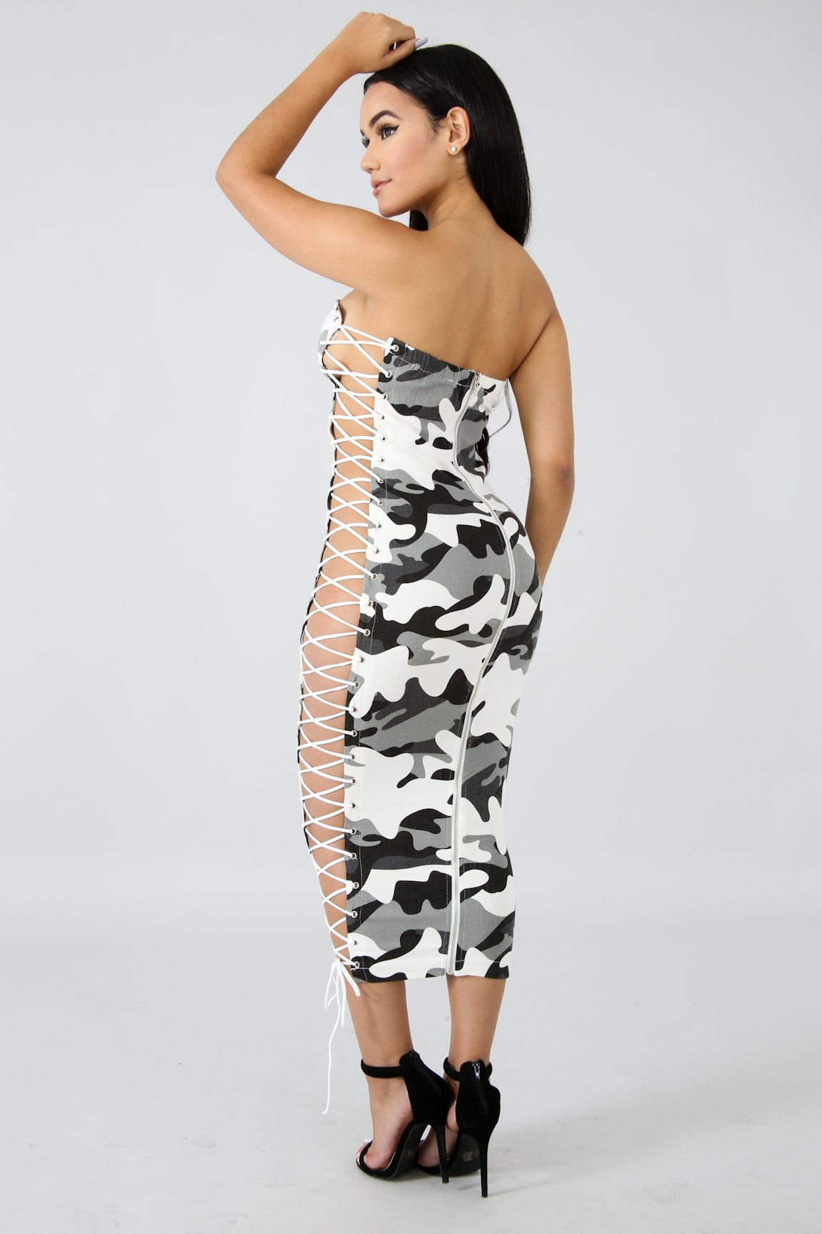 Grey Camouflage Lace Up Midi Dress | GitiOnline