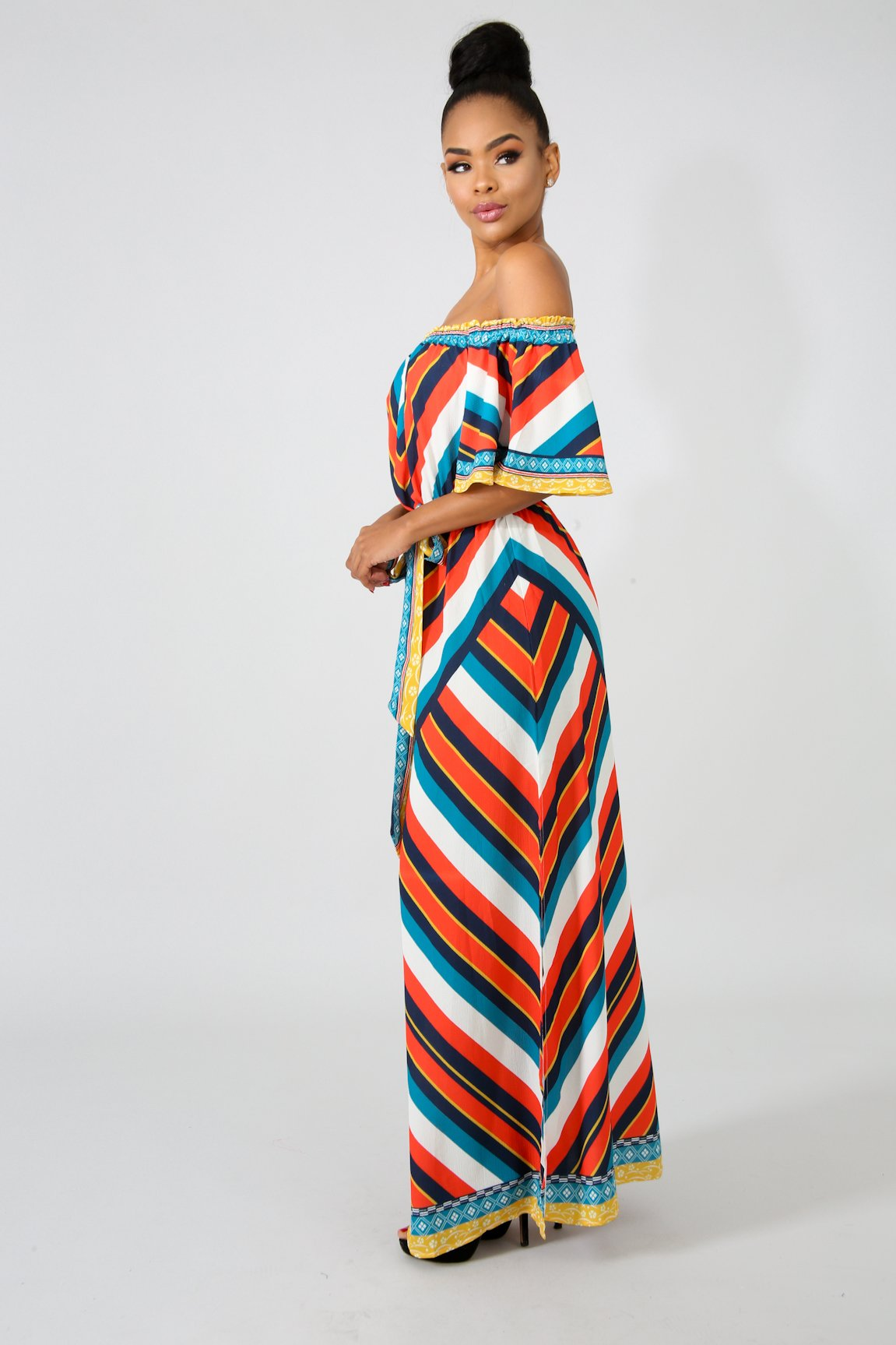 Chevron Slit Maxi Dress | GitiOnline