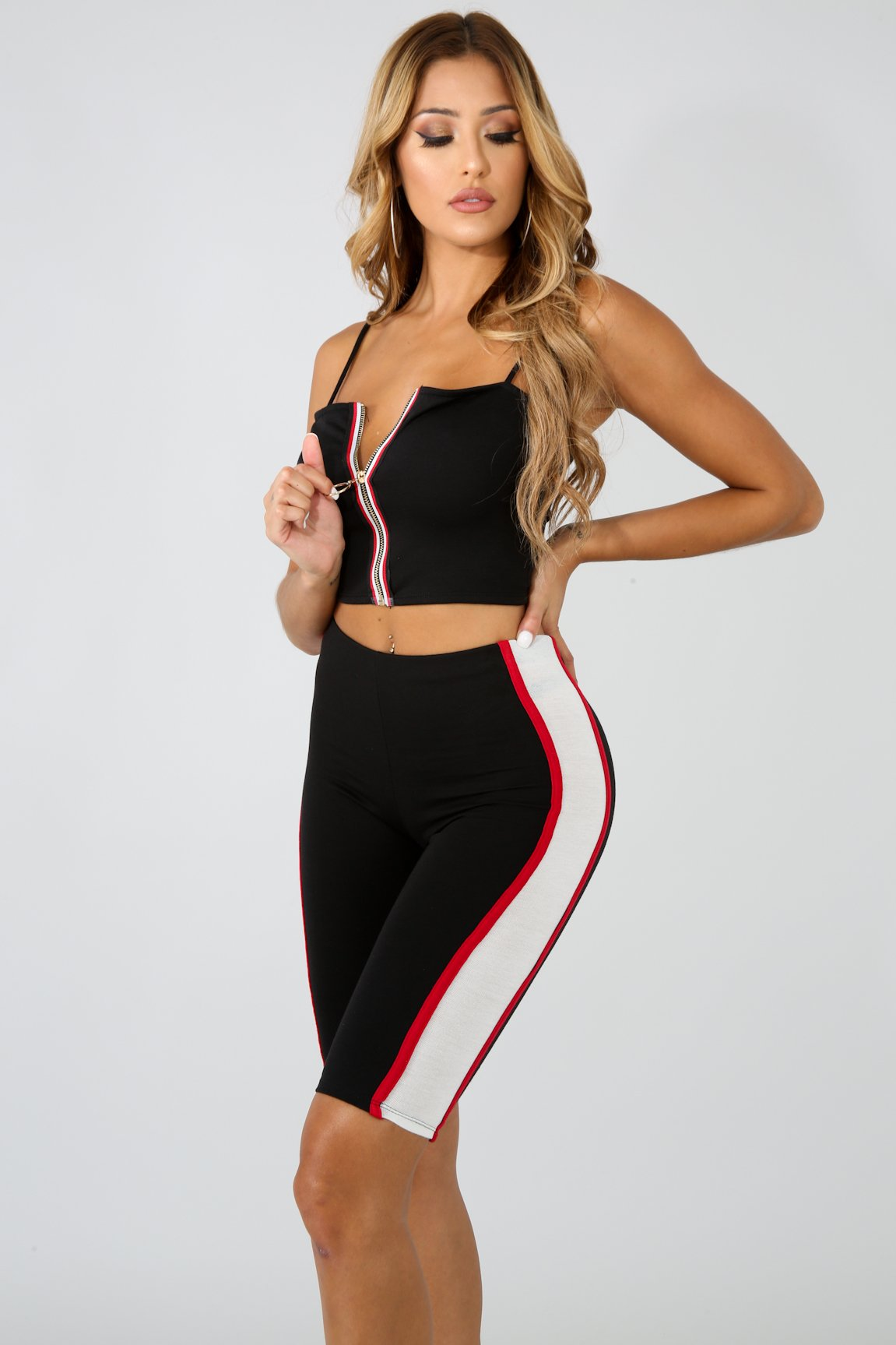 Side Line Zipper Capri Set