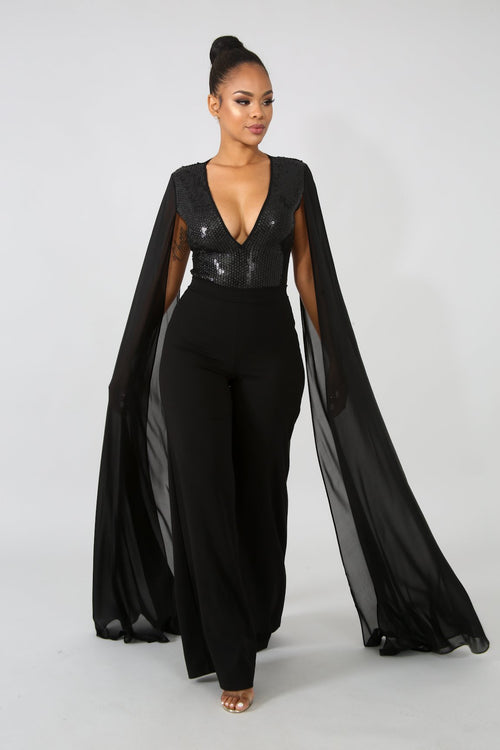 Sequin Sheer Wing Bodysuit | GitiOnline