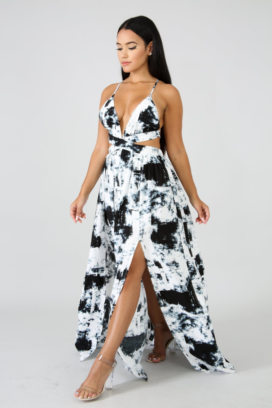 Tie Dye Slit Maxi Dress | GitiOnline
