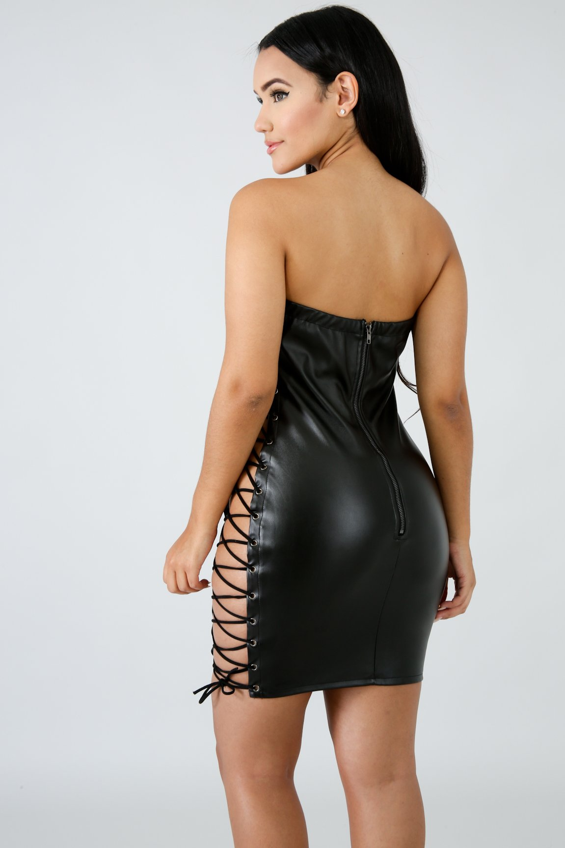 Faux Leather Corset Tube Body-Con Dress | GitiOnline