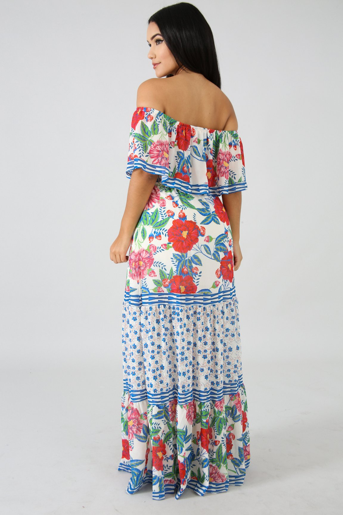 Off Shoulder Rosas Maxi Pleated Dress | GitiOnline