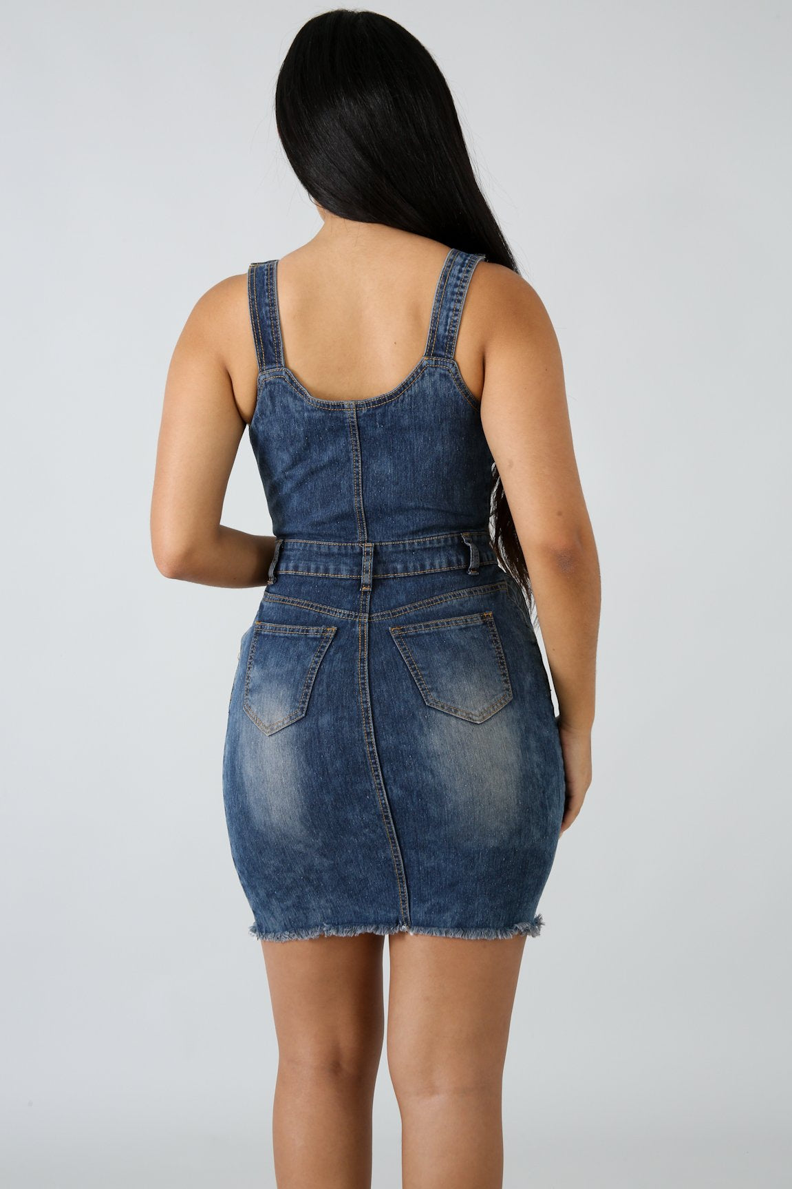 Raw Distressed Denim Dress | GitiOnline