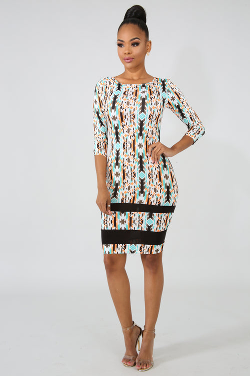 Tribal Body-Con Dress