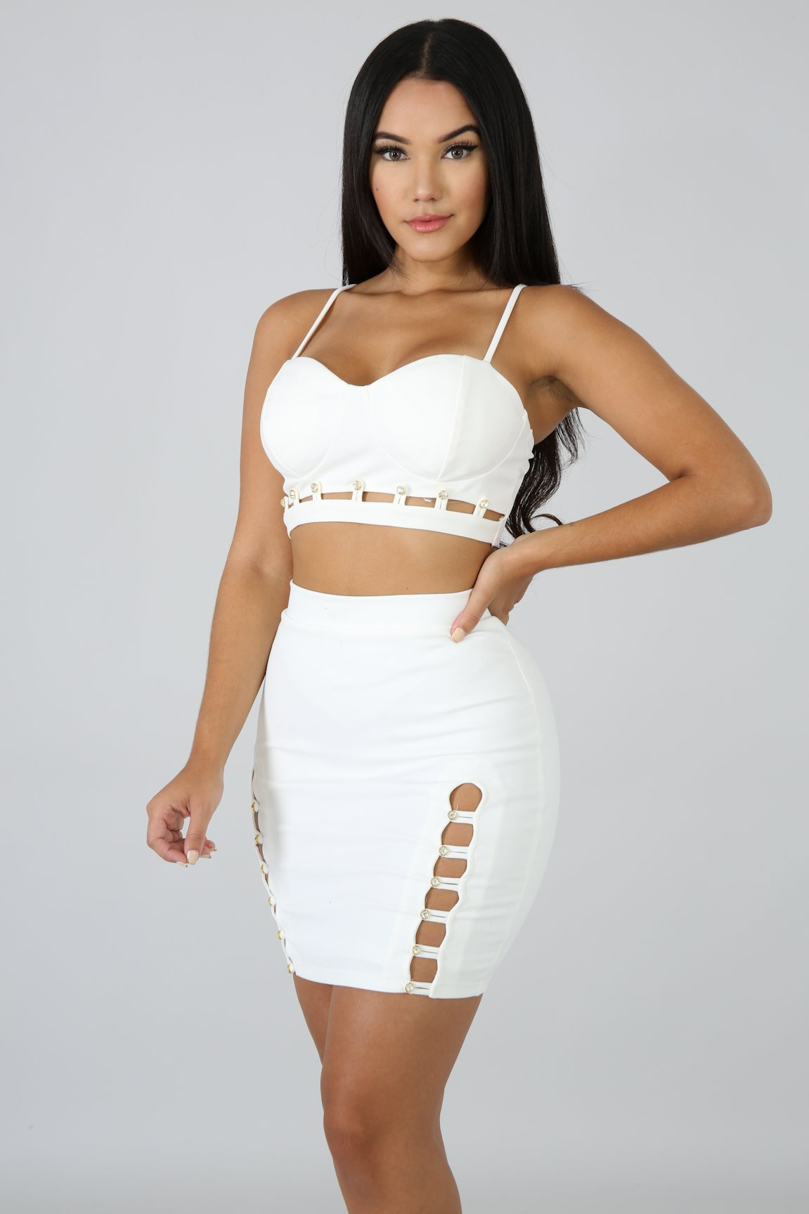 Sparkle Stud Mini Skirt Set