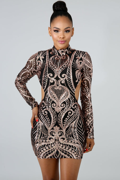 Dipped In Sequin Body-Con Dress | GitiOnline