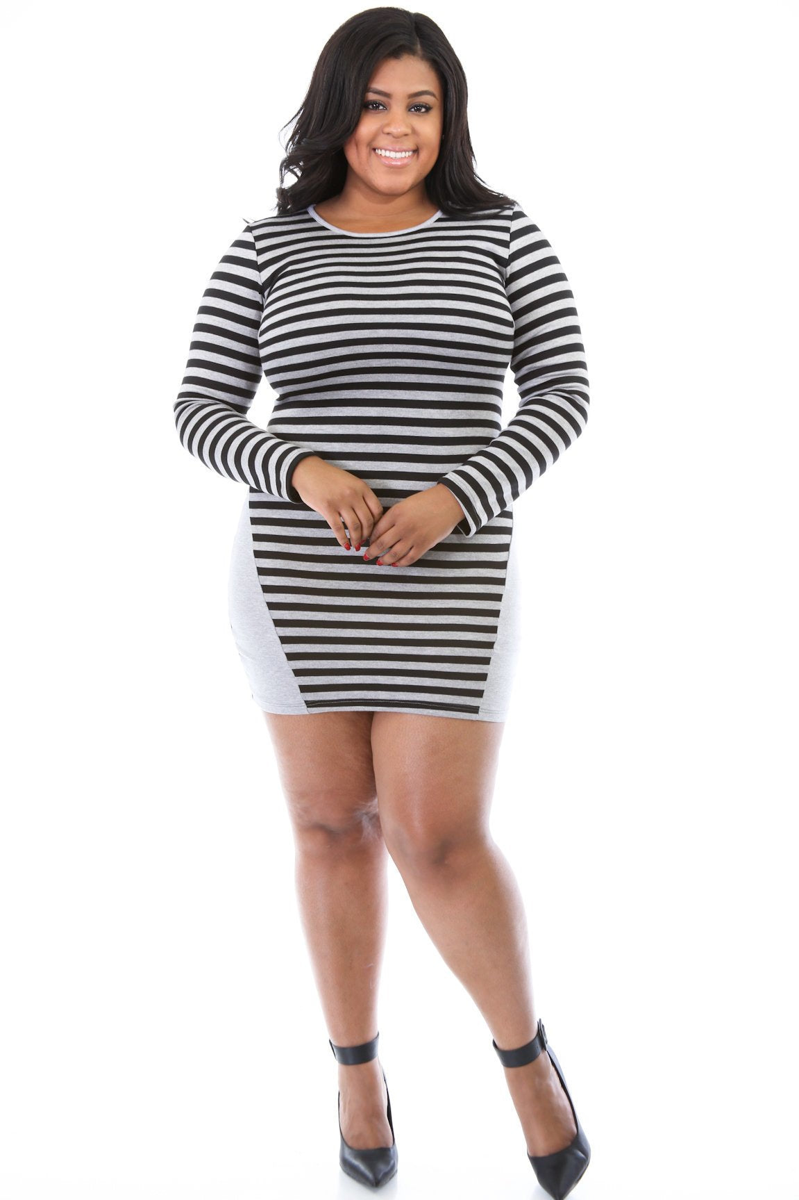 Stripe or Solid Figure Dress