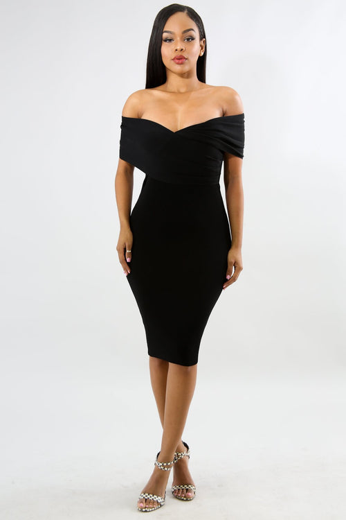 Cross Knit Midi Body-Con Dress